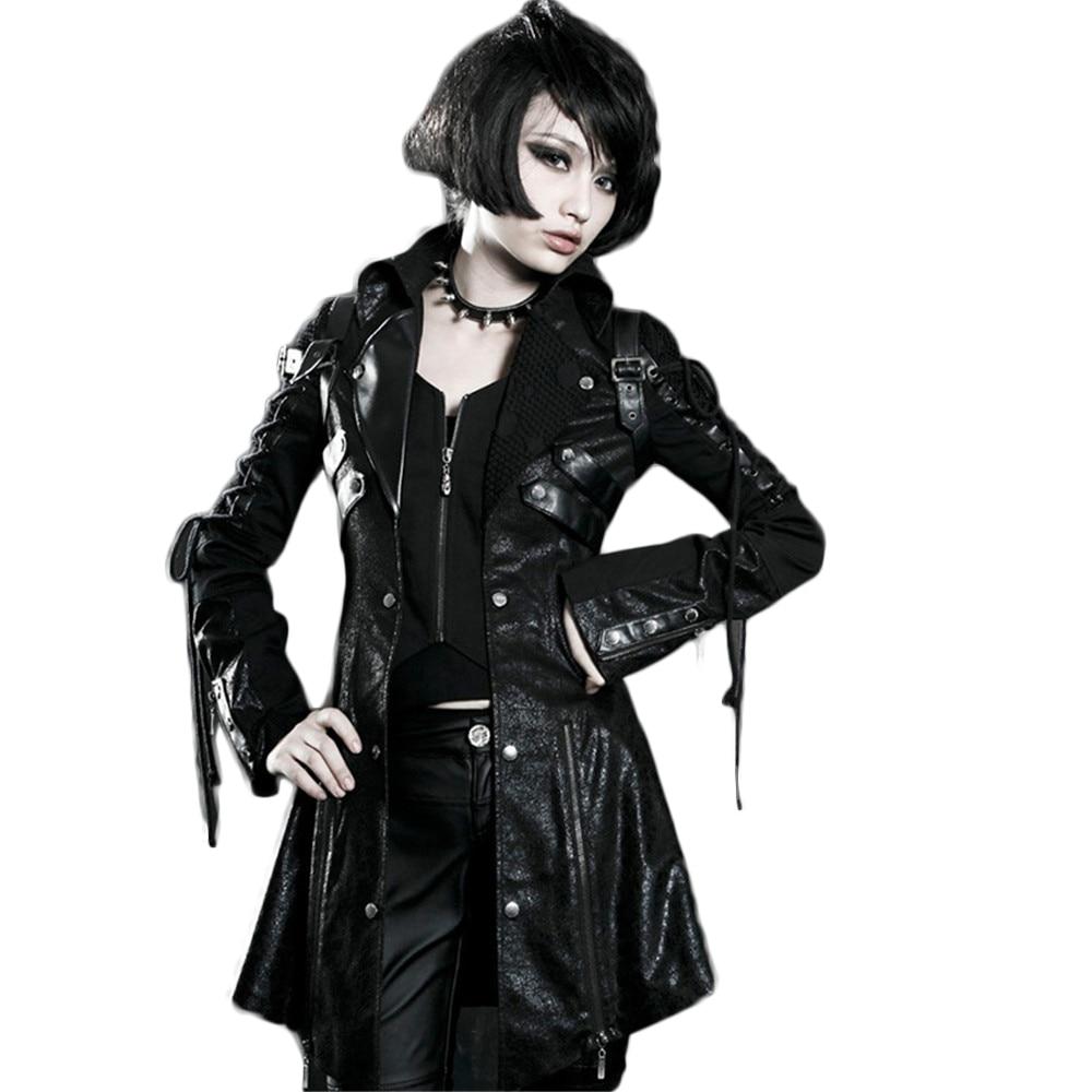 Gothic PU   Leather   Women Jacket Coats Rubber Sleeved Windbreaker Jacket Long Sleeve Casual Jacket Coats