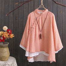 Nagodo Chinese Tunic Top 2019 New Summer Ethnic Clothing Women Long Sleeve Loose Linen Tops Hanfu Antique Stand collar