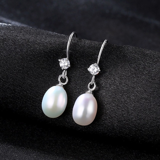 PAG&MAG Hot Sale Charming 925 Sterling Silver Geometric CZ Paved Freshwater Pearl Drop Earring For Women Classic Party Gift