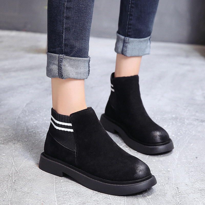 The new autumn 2018 Martin boots flat short tube with restoring ancient ways round head women's boots 36