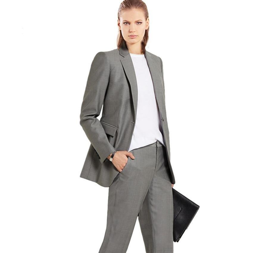 Custom Silver Grey Work Bussiness Formal Elegant Women Suit Set Blazers Pants Office Suits Ladies Pants Suits Trouser Suits