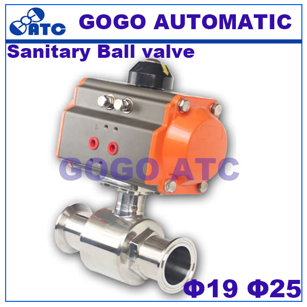 Sanitary Ball valve O D 19 25 mm AT52 Actuator Food grade Stainless steeltee quick clamp