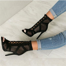 JINJOE New fashion show Black net Suede fabric Cross strap Sexy high heel sandal