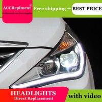 Автомобильный Стайлинг для hyundai Новый Sonata фары 2011 2013 2014 светодиодный фар линзы двойной луч H7 спрятал bi Xenon объектива