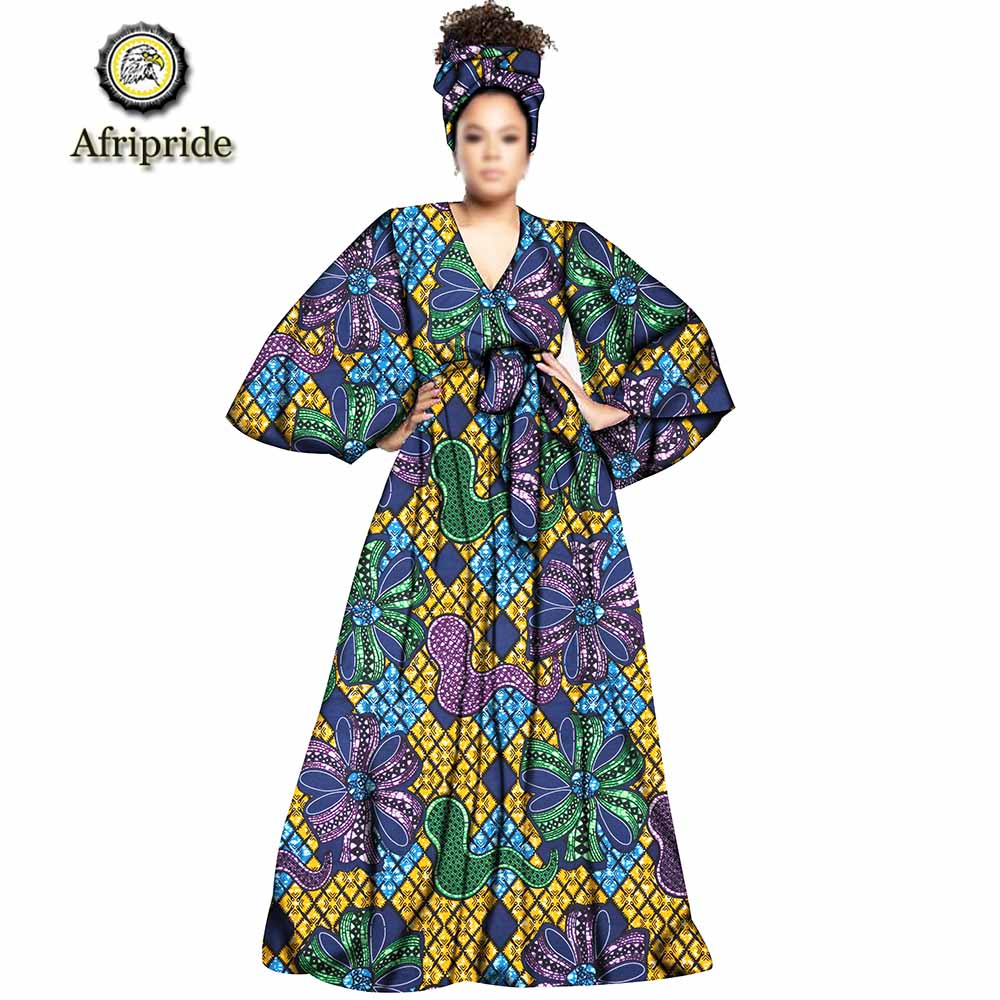 2019 Spring african design robes for women dashiki print with headscarf and sashes vintage floor length dress AFRIPEIDE S1925035 in Dresses from Women 39 s Clothing
