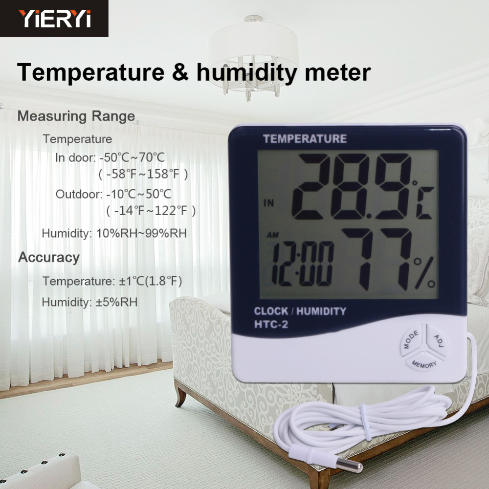 5pcs lot Wireless Thermometer Hygrometer HTC 2 LCD Digital Termometer Indoor Home Thermometer Hygrometer Test Tools