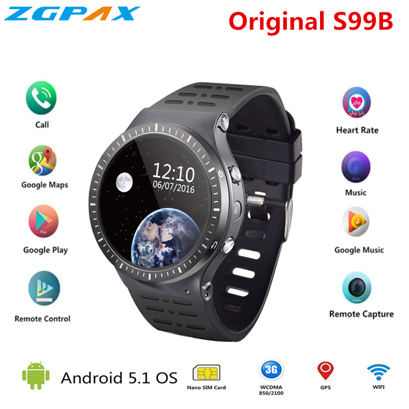 ZGPAX S99B MTK6580 Quad Core Smart Watch 512MB+8GB GPS WIFI smartwatch with 2.0 HD high camera for apple android phone pk S99C hd 4kx2k s905 quad core 2 4ghz wifi