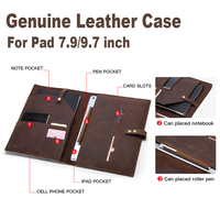 Genuine Leather Buckle Wallet pad Cases For Ipad air 1 2 Pro 9.7 Business Card Bag Soft PU Case For ipad mini 1234 Coque Funda
