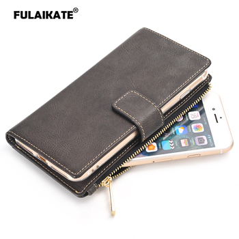 FULAIKATE 2 in 1 Flip Case for iPhone 7 Crazy Horse Retro Leather Back Cover 8 Stand Holster Phone Protective Cases - discount item  15% OFF Mobile Phone Accessories