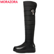 MORAZORA Plus size 35-44 new warm down snow boots round toe platform thigh high boots women over the knee boots winter botas poadisfoo women winter knee high boots casual winter down snow boots popular round toe slip on shoes long warm show boots x 85