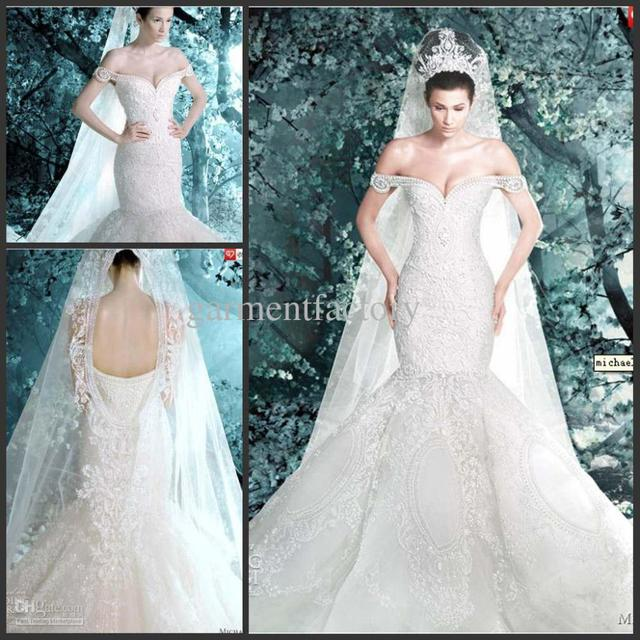 37f5fff8929 Michael Cinco Luxurious Off Shoulder Mermaid Hand Made Crystals Wedding  Dresses Tulle Wedding Dress Professional Custom-Made