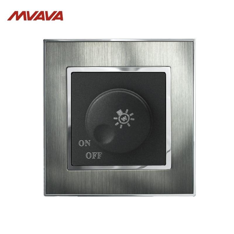 МВАВА Свјетла Освјетљење свјетла Контролни прекидач за окретање зида Диммер 500В Сребрни сатенски брушени метал УК / ЕУ Стандард