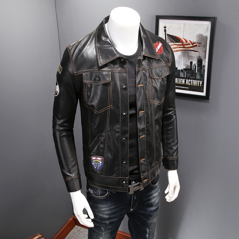 2017 Faux Leather Men Jackets Casual Long Sleeve Turn Down Collar Mens Motorcycle Jacket Front Pocket Single Breasted Coat Male mens winter down jackets coats piumino peuterey wool collar double breasted jacket lapel pocket vertical multi pocket jacket