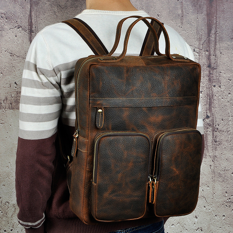 Men Crazy Horse Cowhide Backpack Laptop Book Bags Travel Large Capacity Knapsack School Genuine Leather Bag