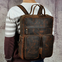 Men Crazy Horse Cowhide Backpack Laptop Book Bags Travel Large Capacity Knapsack School Genuine Leather Bag Rucksack Daypack
