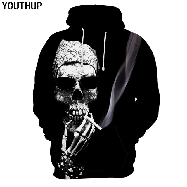 1880a3478f9e YOUTHUP Male 3d Hoodies Skull Smoking Print Hoodies 3d Cool Hooded  Sweatshirts Men 3d Pullovers Black Hoodies Outwear Plus Size