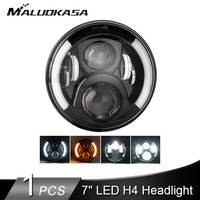 1PCS 7 Car LED Headlights LED H4 for Wrangler 60W Angle Eyes Hi Lo Running Lights for Lada Niva Uaz H13 Adapter Car Accessories