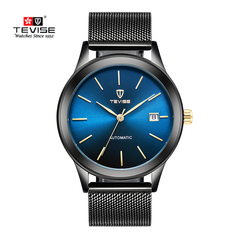TEVISE Auto Date Automatic Self-Wind Watches Stainless Steel Silver Gold Black Watch Men Mechanical Clock 9017 with box tevise men automatic self wind gola stainless steel watches luxury 12 symbolic animals dial mechanical date wristwatches9055g