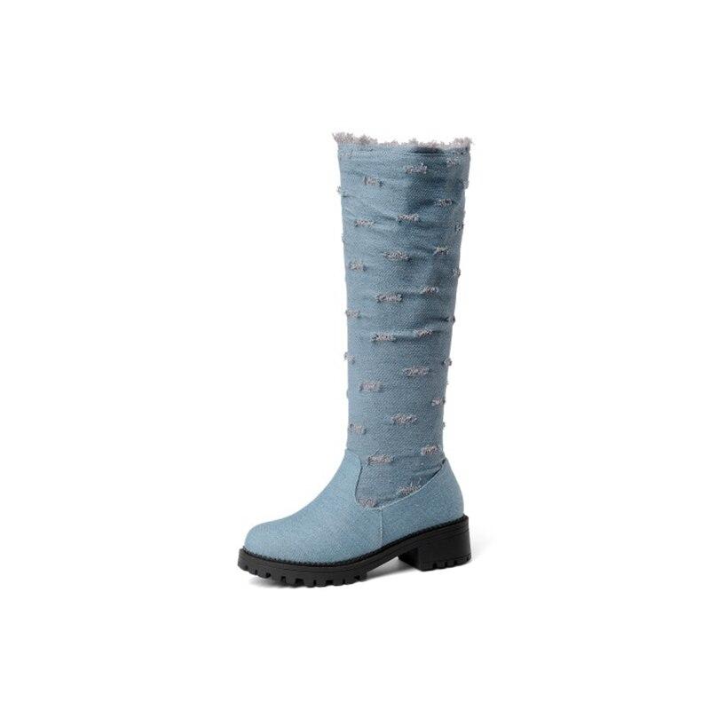 BLXQPYT супер большой размер 34–52 ткани стрейч джинсовые сапоги до колена; круглый носок Для женщин; сезон осень-зима; обувь на среднем каблуке; женская обувь Y76 - Цвет: Light blue