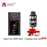 220W Electronic cigarette mod 1.3inch Screen Original VAPTIO SUPER BAT MOD TC Box 510 thread Vape Mod fitted TFV12/TFV8 tank