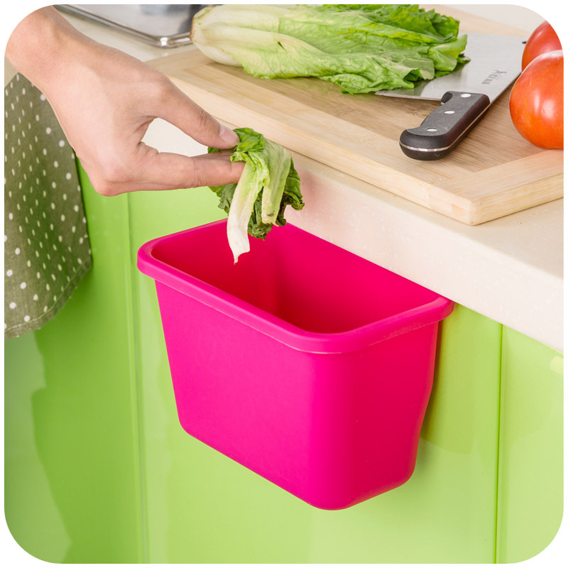 Kitchen Cabinet Door Hanging Trash Garbage Bin Can Rubbish Container Bathroom Cosmetic Organize Container Desktop Trash Bin