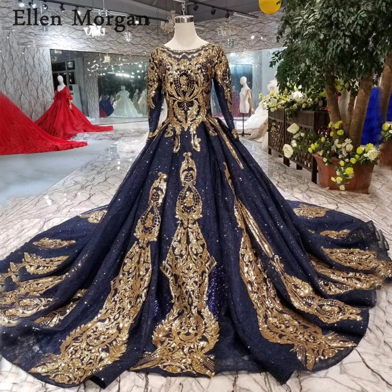 Vintage Long Sleeves Navy Blue Wedding Dresses 2019 Elegant Puffy Custom Made Gold Lace Colorful Muslim Bridal Gowns