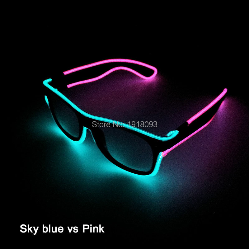 Double Colors EL Wire Glowing Glasses 1pieces Neon Light Up Glasses Novelty Lighting Party Props