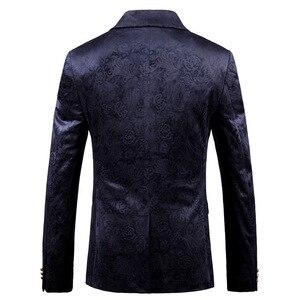 Image 2 - PYJTRL Male Retro Vintage Navy Blue Floral Print Casual Velvet Blazer Homme Design Casacas Men Coat Slim Fit Suit Jacket