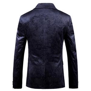 Image 2 - PYJTRL ชาย Retro VINTAGE สีน้ำเงินลายดอกไม้พิมพ์สบายๆกำมะหยี่ Blazer Homme ออกแบบ Casacas เสื้อผู้ชาย SLIM FIT สูทแจ็คเก็ต