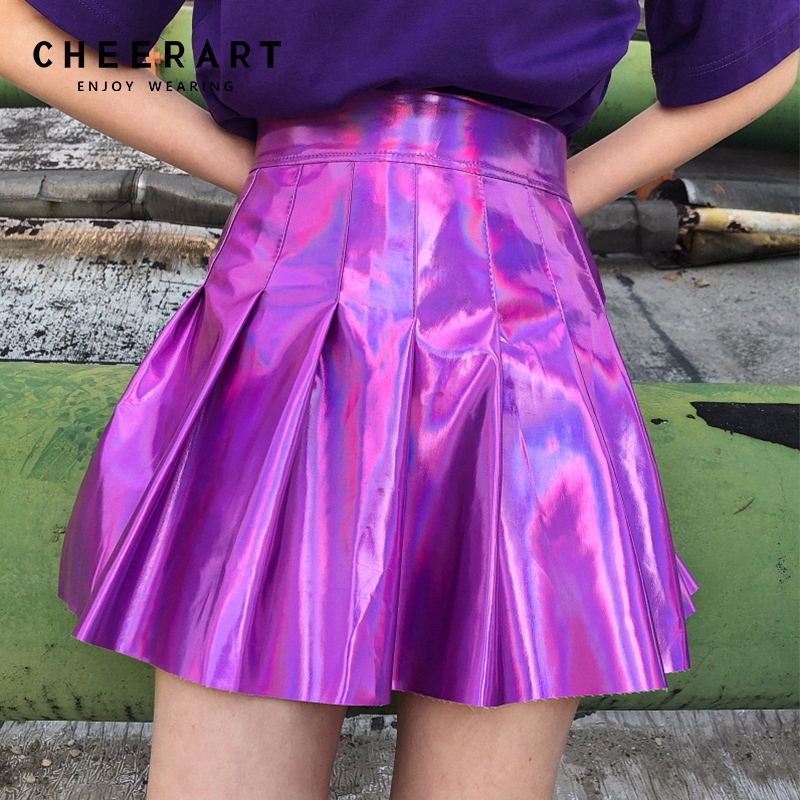 Cheerart Punk Rock Faux Leather Skirt Women Summer Holographic Mini Pleated Skirt Glitter Purple High Waist Skater Skirt