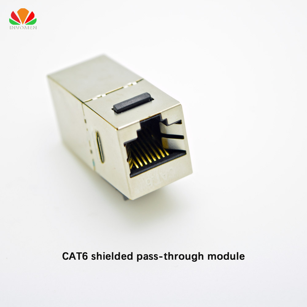 METAL shielded CAT6 pass-through network module Gold-plated RJ45 connector Information socket Cable adapter Keystone Jack