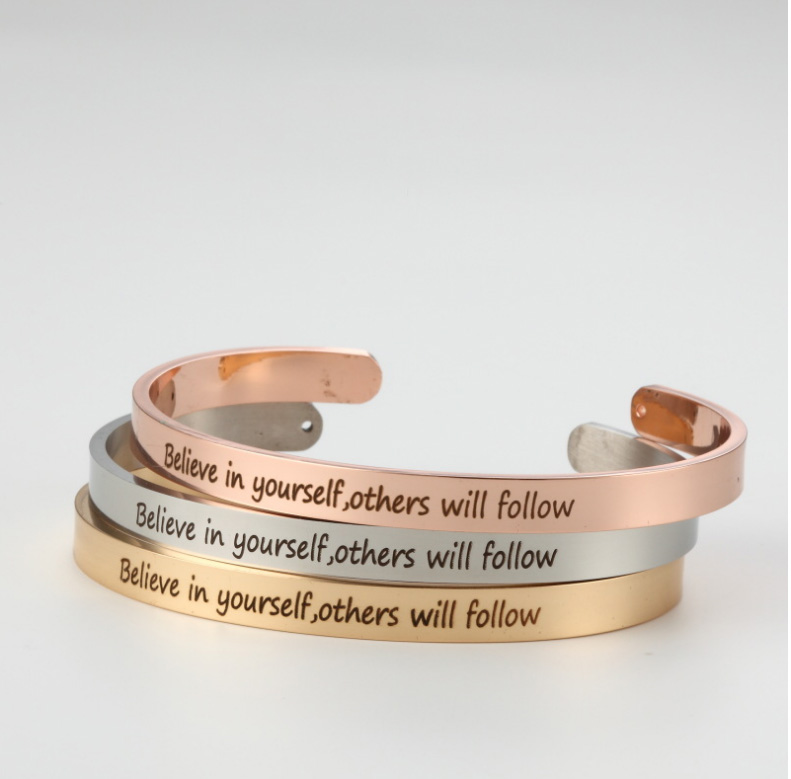 Stainless Steel Cuff Bangle Engrave Believe in yourself, others will follow Inspirational Friendship Bracelet For Her Him