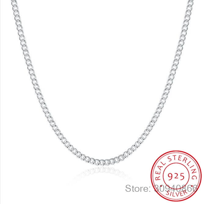 16-24inch Thin Real 925 Sterling Silver 2mm Side Chain Necklace Women Girls Kids Children 40-60cm Jewelry Kolye Collares Collier