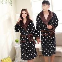 couples winter warm flannel Bath Robes warm women Coral Fleece Dressing Gowns Mid Calf Polka dot Men Robe