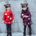 toddler girl clothing sets boutique kids clothing o-neck long sleeve red purple thick balls hoodies and short warm children 2pcs