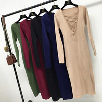 Fashion Women Autumn Winter Sweater Dresses Slim Lace Up Sexy Bodycon Solid Color Robe Long Knitted Dress