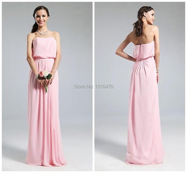 5ab428cf6 Sin tirantes de la gasa Vestido largo de color rosa para dama de honor  fuera del
