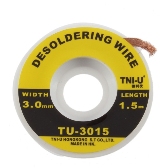 Desoldering Wire Braid Solder Remover Wick Soldering Accessory Metal Color Tin TU-3015  Security 5 ft. 3 mm BGA