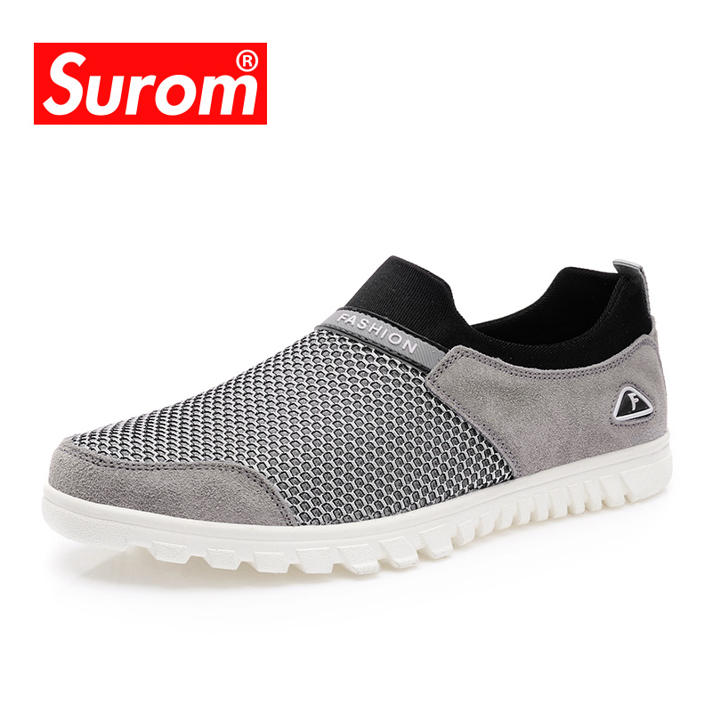 SUROM Summer Men's Casual Shoes Breathable Soft Mesh Slip On Loafers Men Sneakers Fashion Suede Mesh Male Driving Shoes Krasovki nis breathable mesh flat men shoes casual summer slip on shoes men patchwork stitching loafers sewing soft sole pu leather flats