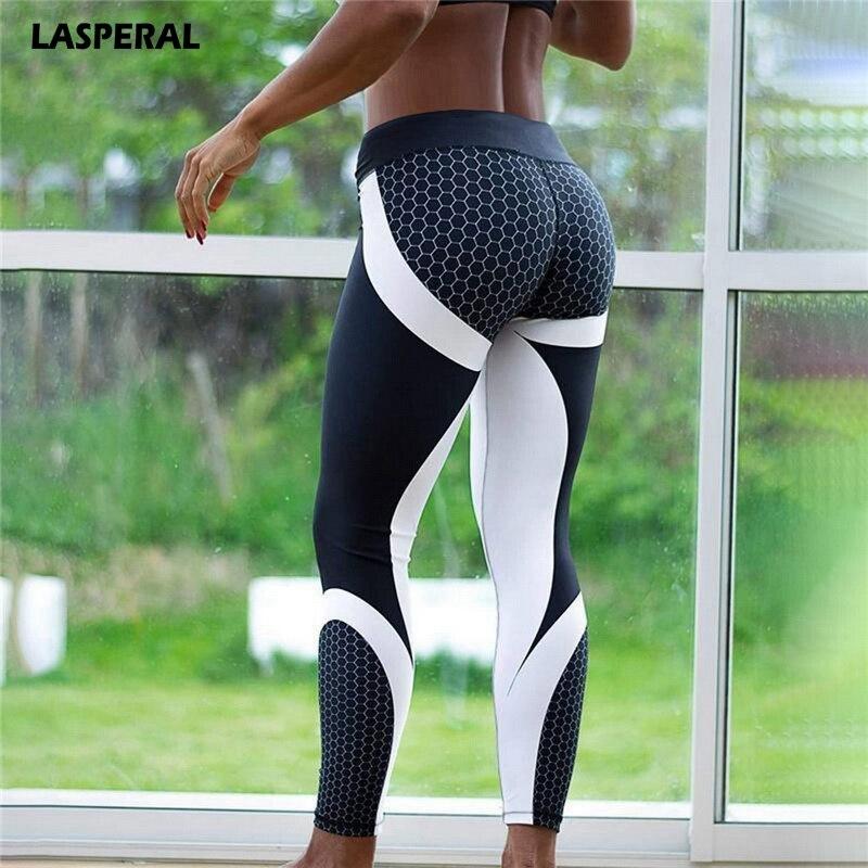 LASPERAL Honeycomb Pattern Leggings Women Printed Yoga Pants Workout Sporting Slim White Black Trousers Fitness Jogger Leggins