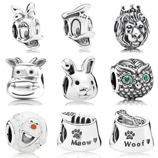 b42d8a71d DAISY Donald Duck Lion Dog Cat Bowl Meow Friendly Olaf Animal Charm Fit Pandora  Bracelet 925 Sterling Silver Bead Charm Jewelry