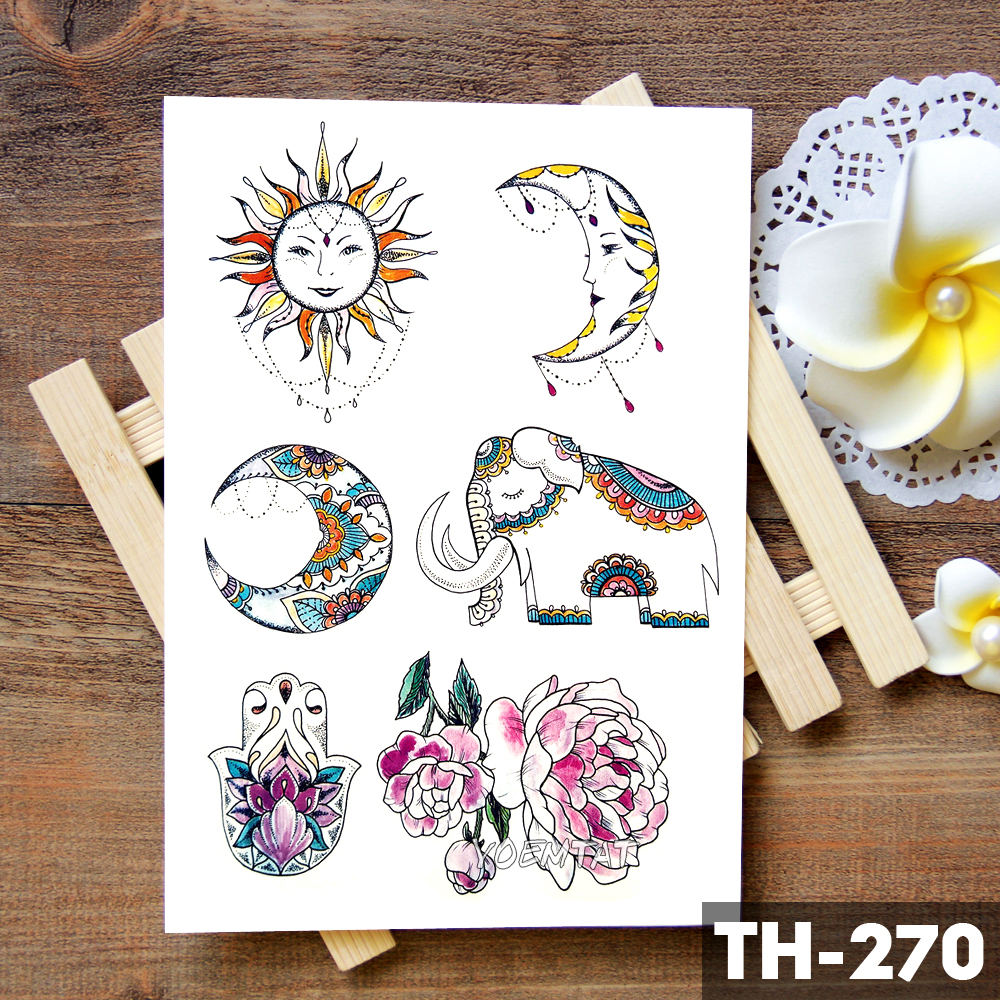 Flower Totem Dream Catcher Butterfly Moon Temporary Tattoo Sticker Pendant Doll Watercolor Tattoos Body Art Fake Tatoo in Temporary Tattoos from Beauty Health