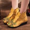 2017 Новая Мода Женщины Обувь Из Натуральной Кожи Высота Увеличение Обувь Квартиры Ботильоны Национальный Стиль Короткие Сапоги Zapatos Mujer