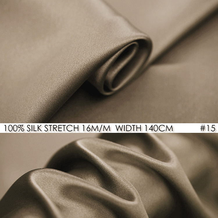 SATIN de soie extensible 140 cm largeur 16 momme tissu de soie Pure + Spandex tissu à coudre extensible pour Patchwork Quilts-NO15 Beige foncé