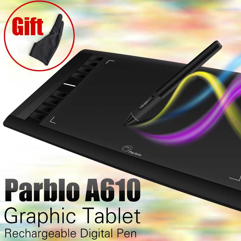 Parblo A610 Digital Tablet Tableta de Dibujo de Gráficos Pad w/Pen 2048 Nivel Digital Pen + Anti-fouling Guante como Regalo