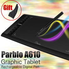 On sale Parblo A610 Digital Tablet Graphics Drawing Tablet Pad w/Pen 2048 Level Digital Pen + Anti-fouling Glove as Gift