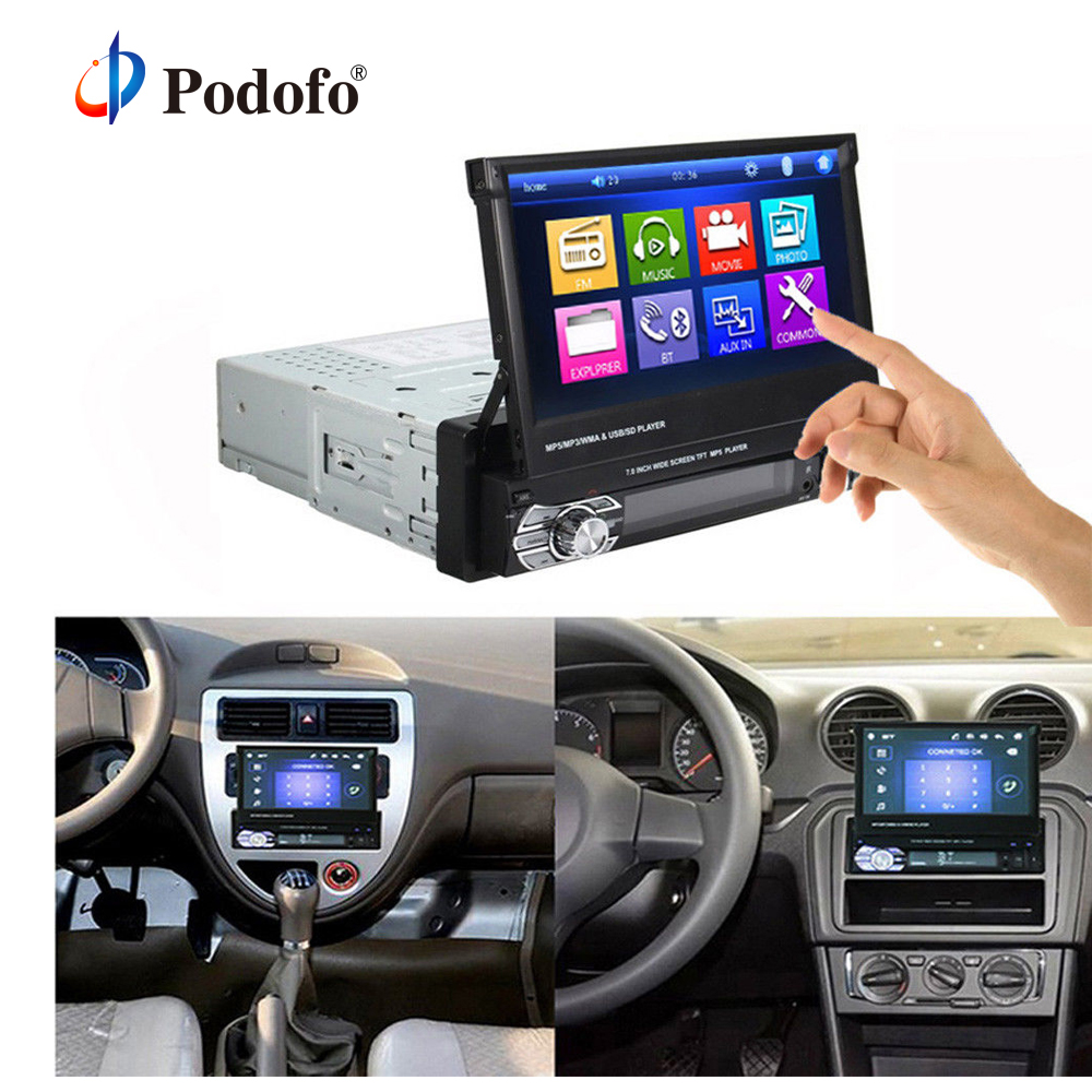 Podofo 1 Din Car DVD MP5 Player Stereo audio Radio Bluetooth 7 HD Retractable Touch Screen Monitor SD FM USB Rear View Camera rk 7158b 1 din bluetooth stereo car radio mp5 player double screen 7 inch automatic retractable touch screen car monitor no gps