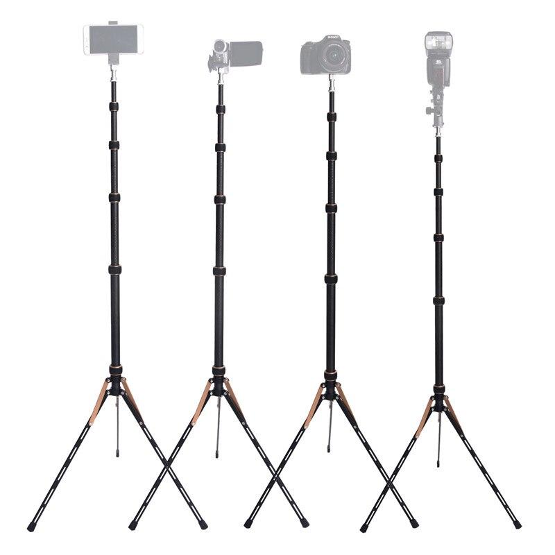 Fosoto FT-220 soporte de trípode de luz Led de fibra de carbono y 2 cabeza de tornillos para estudio fotográfico iluminación Flash paraguas Reflector - 5