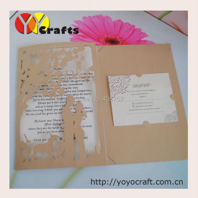 Laser Cut tri folded wedding invitation cardonline wedding