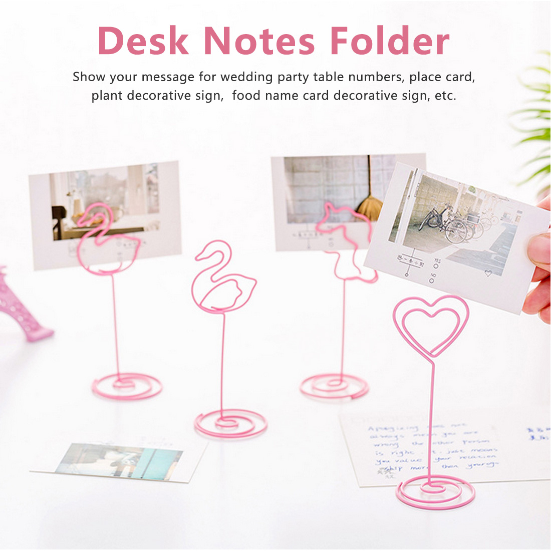 Place Card Holder Memo Number Name Desk Notes Folder  Heart Shape Clips Wedding Favors Place Card Holder Table Photo Clips